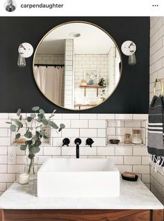 Home Nice 36 Fascinating Powder Room Decoating Ideas. White Vanity Bathroom, Modern Bathroom, Small Bathroom, Mirror Bathroom, Bathroom Ideas, Remodel Bathroom, Budget Bathroom, Bathroom Furniture, Above Counter Bathroom Sink