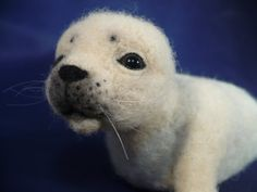 Seal Pup Needle felted Needle crafted Soft sculpture by grannancan, $55.00