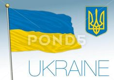 Ukraine official national flag and coat of arms - Stock Illustration | by frizio