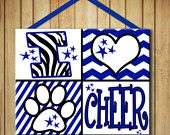 I Heart Panther Cheer Spirit Team Wood Sign Board -Decor -Wall Art -Door Hanger Cheerleader