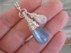 Sky & Moon Necklace Blue Kyanite and by Abundantearthworks on Etsy, $48.00