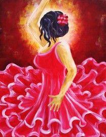 Schilderij Spaanse danseres.   Kleurrijk schilderij met een spaanse flamenco…