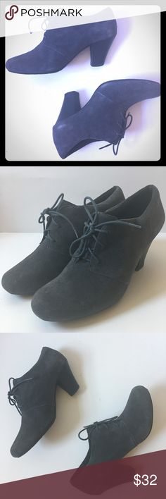 Clarks Dark Blue Suede 2 inch Heel Shoes Size 9.5 Great condition. Some wear and distressing on the heels. Look at the pictures for more. Clarks Shoes