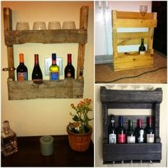 Pallets wall wine rack