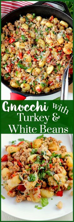 Gnocchi with Turkey and White Beans is a no fuss recipe that you can toss together and cook in one skillet within 30 minutes. Perfect for those busy nights!