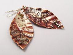 Tree leaf earrings, Copper leaf earrings, Dangle earrings, Autumn Leaves Earrings, Fused sterling silver