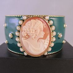 New Amedeo NYC Oval Cornelian Cameo Green Enamel Hinged Bangle Bracelet Brass #AmedeoNYC #Bangle