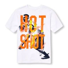 s Boys Short Sleeve 'Hot Shot' Basketball Player Graphic Tee - White T-Shirt - The Children's Place