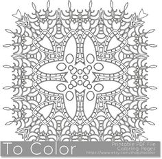 Printable Coloring Pages for Adults, Mandala Snowflake Pattern, PDF / JPG, Instant Download, Coloring Book, Coloring Sheet, Grown Ups