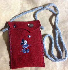 Red wool felt iphone case shoulder bag by mcleodhandcraftgifts