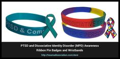 Dissociative Identity Disorder, PTSD and Complex PTSD awareness teal lapel pin badge and wristband sets Ptsd Awareness, Complex Ptsd, Dissociation, Stress Disorders, Awareness Ribbons, Pin Badges, Trauma, Identity, Teal