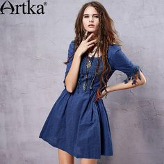 Artka Women's Summer Cotton Perforated Dress Bohemia Style Tassel Patchwork Embroidery Square Collar  Dress LA14055X