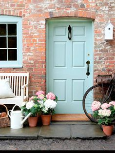 I love this Front door color with the brick. It's eco friendly Oil Gloss paint in 'Celestial Blue' by Little Greene Paint Company Doors, House Exterior, Cottage Style Front Doors, Interior And Exterior, House Design, Front Door Colors, House Colors, Country Paint Colors, Cottage Front Doors