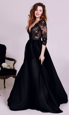 Lovelybride Sexy Black See-through Lace Bodice Long Sleeved Prom Evening Dress at Amazon Women's Clothing store: