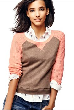 Gap colorblock sweater + #jeans