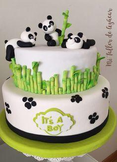 Baby Shower Cakes, Baby Cakes, Fondant Cake Toppers, Fondant Cakes, Cupcake Cakes, Panda Birthday Cake, Bolo Panda, Panda Baby Showers, Panda Party