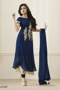 Picture of Splendorous Navy Blue Designer Salwar Kameez Designer Salwar Kameez, Designer Anarkali Dresses, Pakistani Dresses, Indian Dresses, Indian Outfits, Designer Dresses, Anarkali Gown, Lehenga Choli, Oriental Fashion