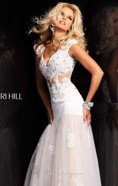 Beaded Lace A-Line Gown by Sherri Hill 21012