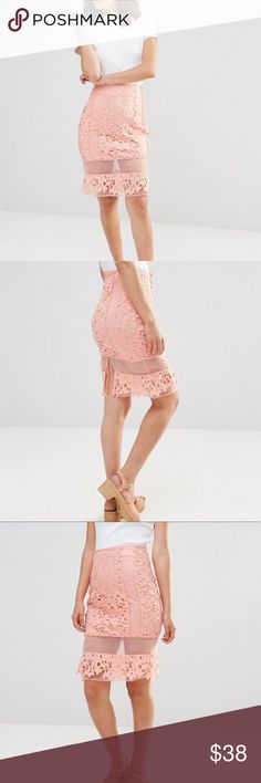 Peach Lace Mesh skirt It's officially my favorite skirt 💕💕💕 Hope you love it as much as I do! The fit is super flattering. Once I clean my place, I'll model it.m! That's how much I like this! J.O.A Skirts Pencil
