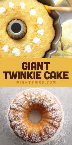 Giant Twinkie Cake - This delicious bundt cake recipe tastes just like homemade Twinkie! Learn how to make this big golden yellow cake with marshmallow filling. Watch the video! It's super easy to mak Dessert Simple, Bon Dessert, Dessert Healthy, Mousse Dessert, Desserts Ostern, Köstliche Desserts, Easy Yummy Desserts, Twinkie Desserts, Picnic Desserts