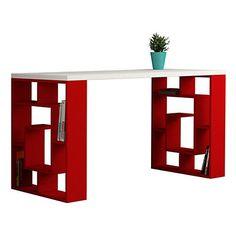 Bureau Labirent blanc et rouge 140 x 75 x 60 cm