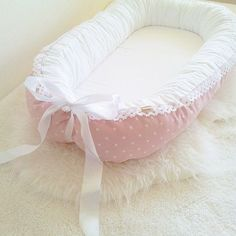 Puder pink with white stars- white fabric for bed area / White lace & Satin ribbon / babynest / baby nest