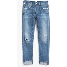 Citizens Of Humanity Liya Hi-Lo Hem in Troublemaker ❤ liked on Polyvore featuring jeans, distressed straight-leg jeans, citizens of humanity jeans, high rise jeans, high rise straight leg jeans and ripped jeans