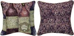 "TLSW5B 17"" x 17"" Sanctuary Wine 5 Bottles Tapestry Pillow© Susan Winget                                                        winery"