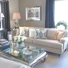 Things You Should Know About Cozy Living Room Decor Ideas To Copy - findmynewhomes Glam Living Room, Living Room Decor Cozy, Formal Living Rooms, Interior Design Living Room, Home And Living, Living Room Designs, Mirrored Coffee Tables, Moraira, European Home Decor