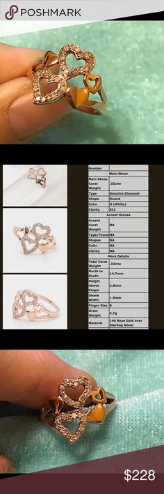 (.32ctw) 14KT rose gold over 925 SS Heart ring Gorgeous!!!! ( .31ctw ) natural diamonds set in 14KT rose gold over 925 Sterling Silver Heart ring size 8 retail value $399 14KT rose gold over 925 SS Jewelry Rings
