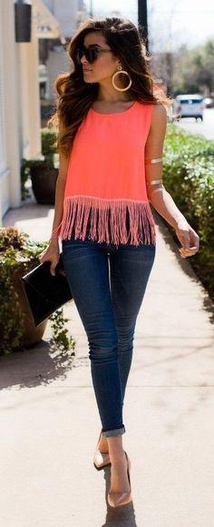 Tangerine Fringe Top Outfit Idea | Boho Chic Style | Sazan