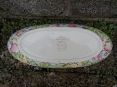 Here we have a vintage antique Chintz ware ceramic dish  Royal Winton 'Anemone' pattern boat shaped dish  rare pattern   art deco 1930's in date  very nice condition - no c...