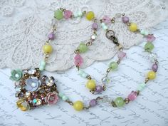 MOLLY vintage assemblage necklace pastel flowers shabby chic feminine pretty ooak