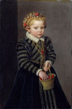 Little Girl with a Basket of Cherries, 1570s, Netherlandish, artist unknown, oil on canvas.