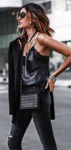 all black. lace trim cami top. denim. fall street style.