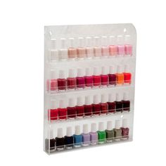 I THINK THIS WOULD FIT ON ONE OF MY CABINET DOORS IN OUR MASTER BATH.   (40 Bottles Clear Acrylic Nail Polish Salon Wall Display Storage Rack 16 x 12 on eBay)