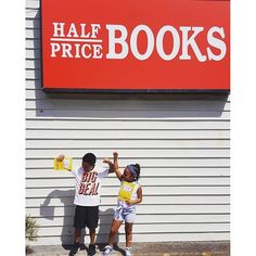 """Nothing like getting paid to do what you love, these two love reading and were too excited to turn in their reading logs for their $5 reward from half price books."" Thanks @thegoodlittlemom #summerreading #feedyourbrain"