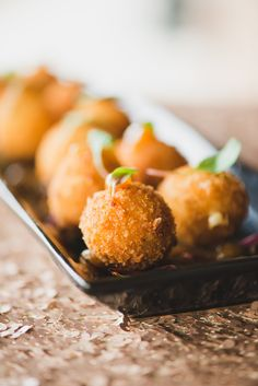 Passed hors d'oeuvres- Goat Cheese Fritters: served with a peach honey jam