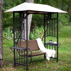 Coral Coast Bellora 2 Person Gazebo Swing - Natural Resin Wicker > Resin wicker seat and back in woven style Comfortably seats 2 people Slightly reclined back for extra comfort Porch Swing With Canopy, Outdoor Patio Swing, Gazebo Canopy, Backyard Canopy, Patio Gazebo, Garden Gazebo, Canopy Outdoor, Outdoor Decor, Porch Swings
