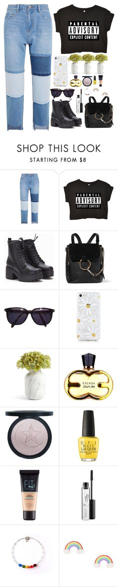 """""""•She captures her reflection then she throws the mirror to the floor•"""" by jem0kingston ❤ liked on Polyvore featuring Steve J & Yoni P, Chloé, Sonia Rykiel, OPI, Maybelline and MAC Cosmetics"""