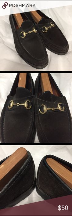 Authentic Men Gucci suede loafer 7 1/2D Used pair with signs of discoloration.  Please check all the pics carefully. This is in pre-owned condition.  All of my items come from a smoke and pet free home.  Please let me know if you have any questions or need more pics. Gucci Shoes Loafers & Slip-Ons