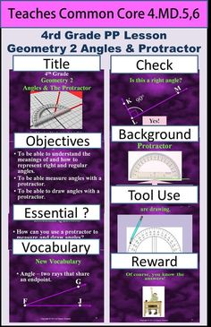 Geometry 2 - Angles and Protractors teaches students all about angles: the definition, how to identify different types, how to measure them and how to draw them.  Click Visit to see this product.