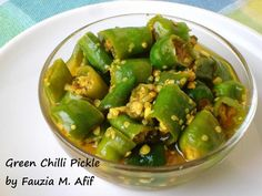 Green Chilli Pickle - Fauzia's Kitchen Fun Chilli Recipes, Chutney Recipes, Indian Food Recipes, New Recipes, Cooking Recipes, Recipies, Spicy Dishes, Veggie Dishes, Savoury Dishes