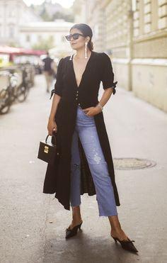 Outfit | Blue Jeans, Black Dress