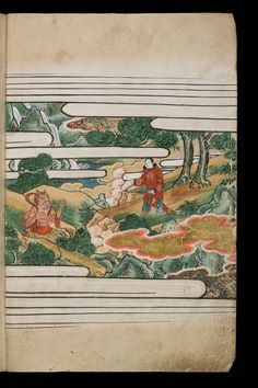 Japenese manuscript representing the Life of Buddha (Shaka no Honji). It's a Nara picture book. Here a man is approaching a red Oni, a kind of demon ogre. The man wears a red floral tunic. The nature is richly painted, with luxurious trees, flowers, stones and mounts.  #Japan #Manuscript #picturebook #buddha #nature #Oni #Monster #tree