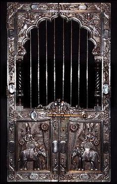 Ornate silver doors, India
