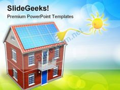 House With Solar Batteries Environment PowerPoint Templates And PowerPoint Backgrounds 0411 #PowerPoint #Templates #Themes #Background
