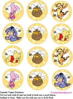 Cupcake Toppers, Winnie The Pooh, Party Decorations - Free Printable Ideas from… Winnie The Pooh Themes, Winnie The Pooh Cake, Winnie The Pooh Birthday, Winnie The Pooh Friends, Baby Birthday, Bottle Cap Art, Bottle Cap Crafts, Bottle Cap Images, Deco Cupcake