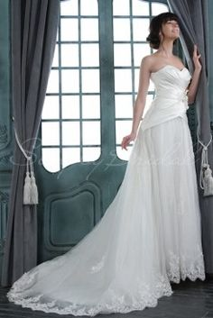 Wedding Dress by SimplyBridal. This A-line silhouette features a sweetheart neckline, strapless pleated bodice adorned with flowers, and a waist embellished with floral embroidery and sparkling beads. The ivory satin and organza will drape you in elegance. The top layers of the skirt a. USD $305.99