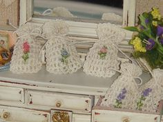 Dollhouse Crocheted sachets bags embroiered by hand. 1 :12 Miniature saches.